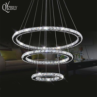 Led Crystal Chandelier Lighting Lamp Lustre Ring Light Pendant Lamparas Colgantes Abajur Luminaire Modern Ceiling Fixtures