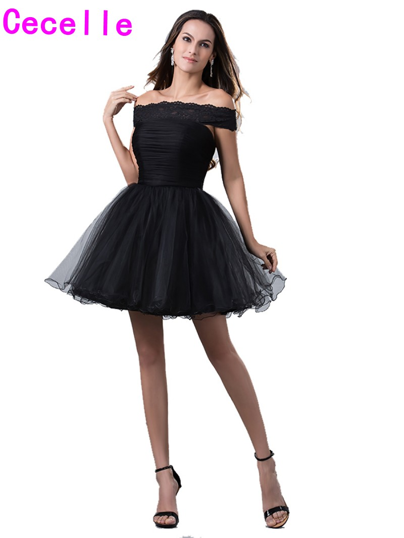 einfache kleine schwarze kleider kurz weg von der schulter homecoming  kleider 2019 junioren lacetulle cocktail homecoming kleider günstige