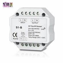 S1-B светодиодный диммер Triac RF с дистанционным управлением R1 2,4 ГГц, беспроводной Вход 100-240 В переменного тока 1 а 100 Вт-288 Вт, светодиодный кнопочный диммер