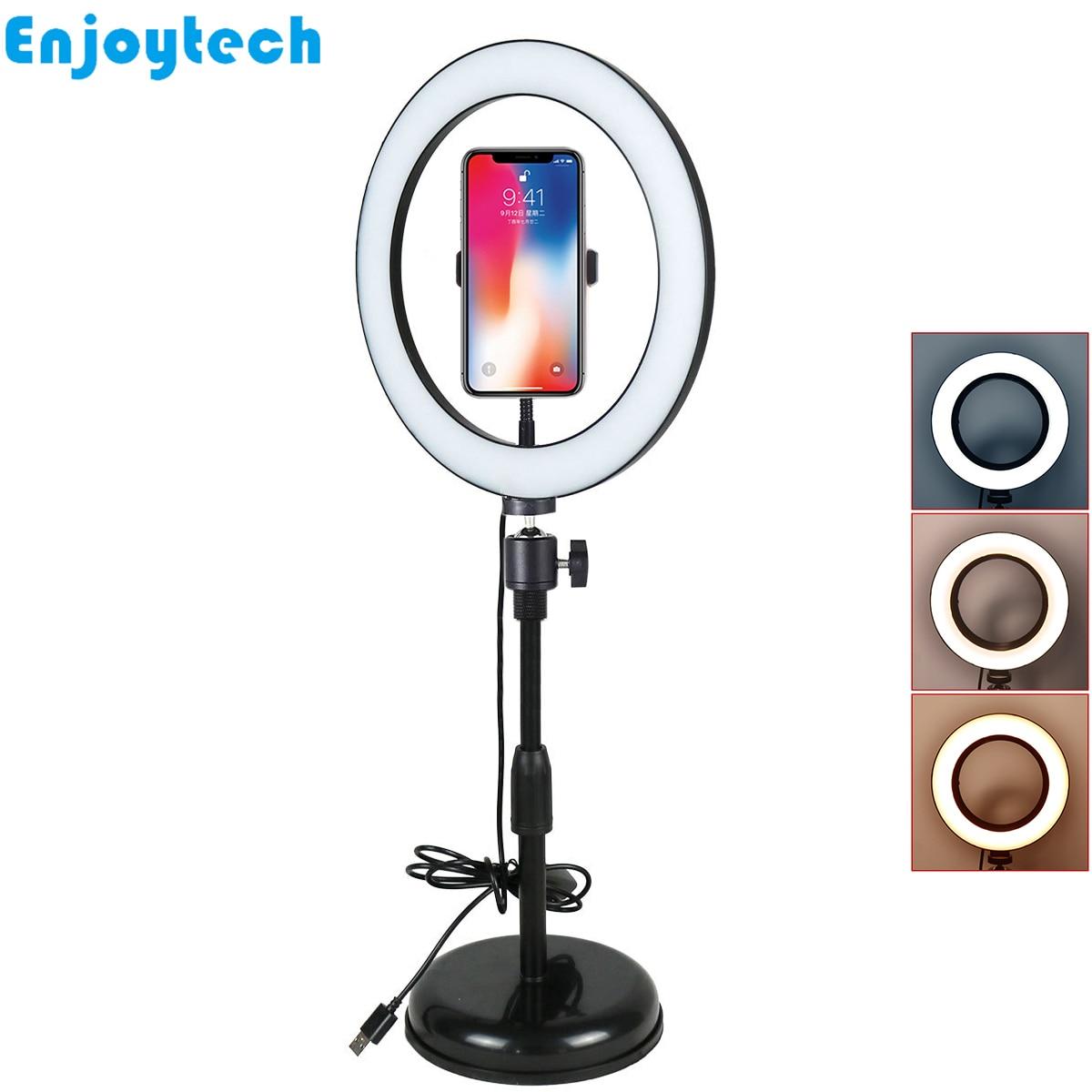 Nouveau support de table avec anneau de LED lampe Flash trépied avec support de téléphones mobiles pour blogueurs vidéo en direct