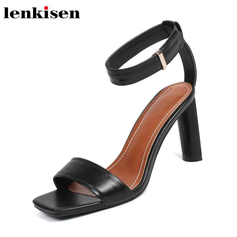 Lenkisen hot sale square peep toe summer high heels buckle strap European movie star style party runway women brand sandals L70-in High Heels from Shoes    1