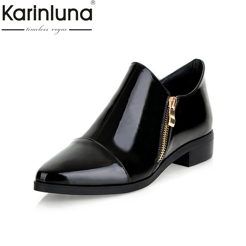 KARINLUNA 2017 Brand New Spring Big Size 34-43 Pointed Toe Women Shoes Fashion Low Heels Leisure Zip Up Black Woman Pumps new brand spring pointed toe ladies shoes fashion snake style women flats casual leather shoes woman big size 34 43