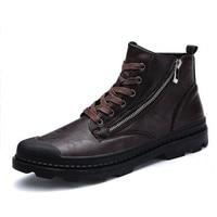 PU Leather Men Ankle Boots Fashion Snow Boots For Men Zipper Men's Boots Man Black Brown Lace Up Shoes For Winter Autumn
