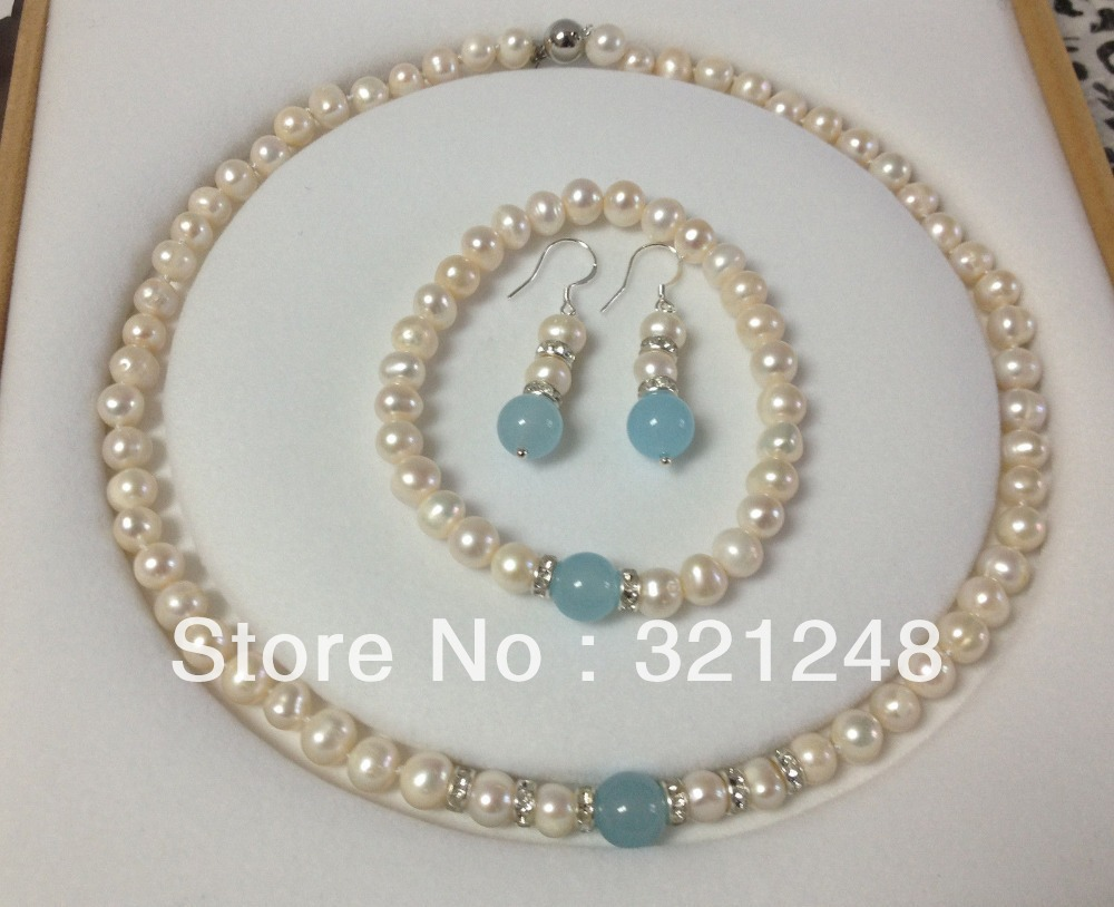 Free Shopping New Diy 89mm White Pearl Blue Chalcedony Jades Stone  Necklace Bracelet Earring