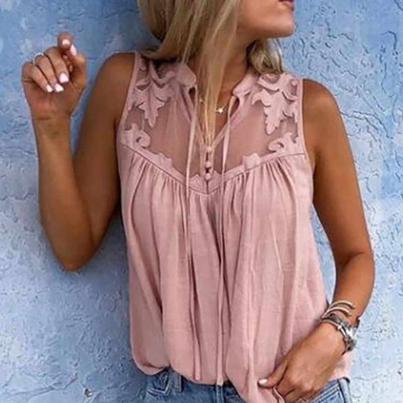 Women Blouse Tops Casual Loose Short Sleeve Women Shirts Solid Pink Green Lace V-Neck Chiffon Blouses Female Shirts Vest Blusa
