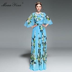 Image 3 - MoaaYina concepteur piste Maxi robe été femmes Flare manches imprimé fleuri citron ceintures loisirs vacances bohême robe élégante