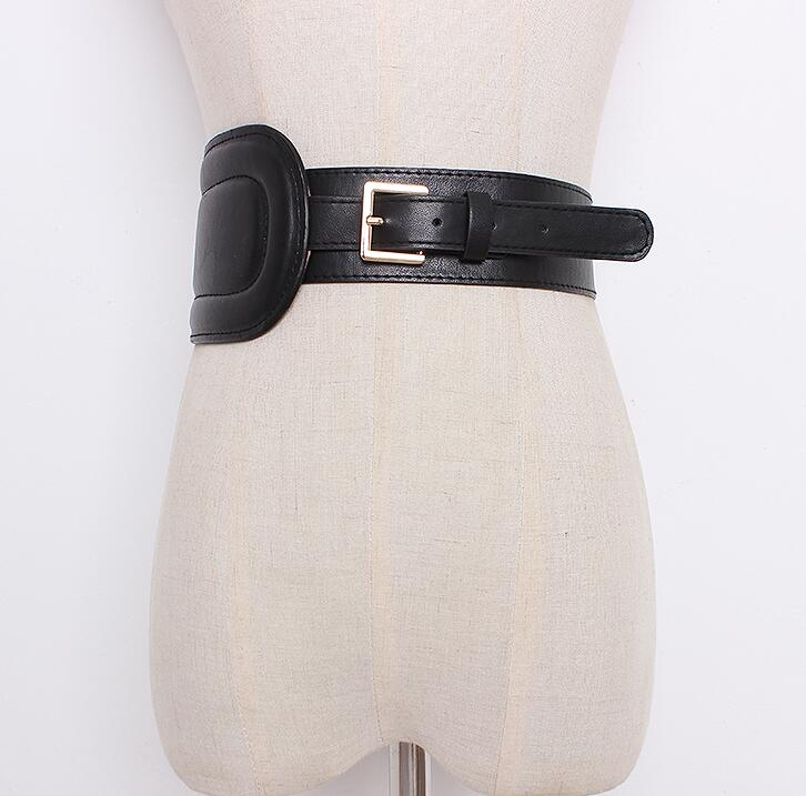 Women's Runway Fashion Pu Leather Cummerbunds Female Dress Corsets Waistband Belts Decoration Wide Belt R1650