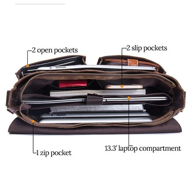 Contactbriefcase s masculino maleta de negócios couro genuíno bolsa portátil casual grande bolsa de ombro do vintage mensageiro sacos luxo bolsas 3