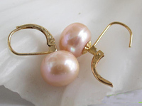 Elegant 100% Genuine Freshwater Pearl Earrings For Women,12mm Pink Color Round Pearl Jewellery,New Free Shipping