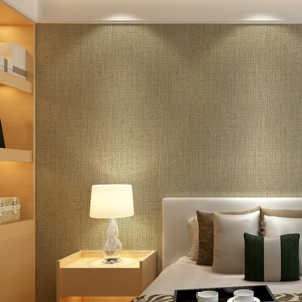 Modern plain linen texture wallpaper faux grasscloth wall 1 wall wallpaper