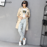 SHILO GO Leather Trench Womens Spring Fashion sheepskin genuine leather long coat lapel collar double breasted belt straight coa