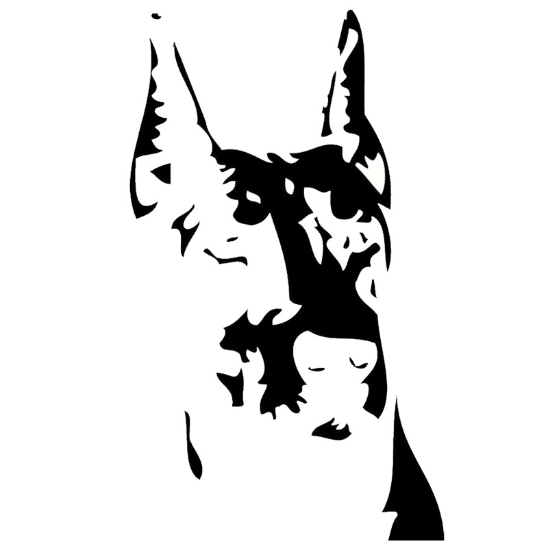 9*15.2CM Doberman Pet Dog Lovers Animal Stickers Personality Motorcycle Car Accessories Black/Sliver C6-0980