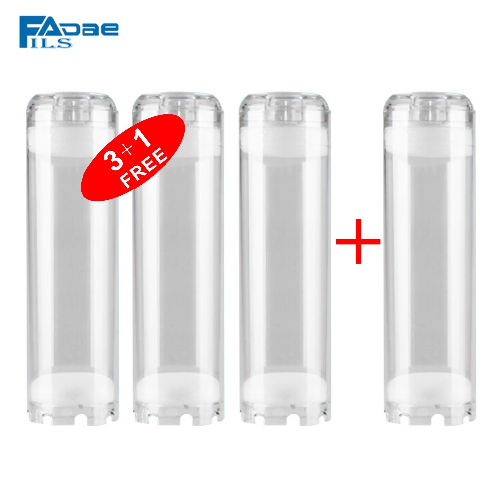 10 Reusable Empty Clear Cartridge 2 3/4 OD x 10 Inch Transparent Water Filter Housing Various Media Refillable(3+1 FREE)