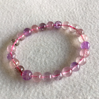 Natural Genuine Purple Hair Crystal Multi Colors Mix Super 7 Seven Bracelet Round Melody Stone 7mm