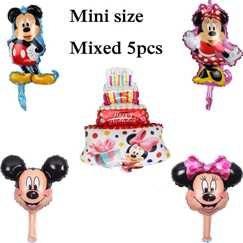 5pcs mixed cake mickey minnie balloon mini size foil material birthday balloons for mickey party balloons