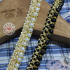 6yards Lot Gorgeous Fake Pearls Beads Lace Trim With Gold Thread 1 2cm Wide For Cushion