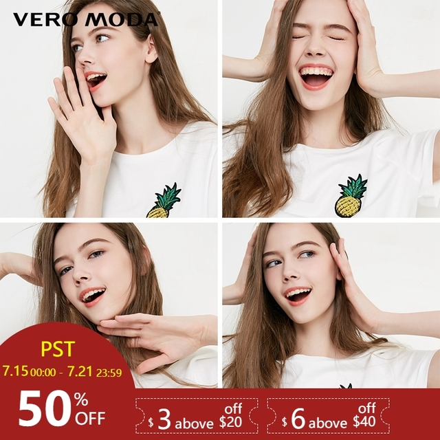 Vero Moda נשים של רקמת שמלת שרוכים עגול מחשוף חולצה   318301533