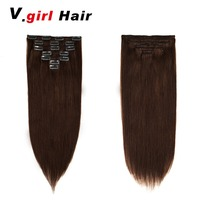 V.girl hair Machine Made Remy Straight Clip In Human Hair Extensions 100% Human Hair Clips In #2 Dark Brown Color