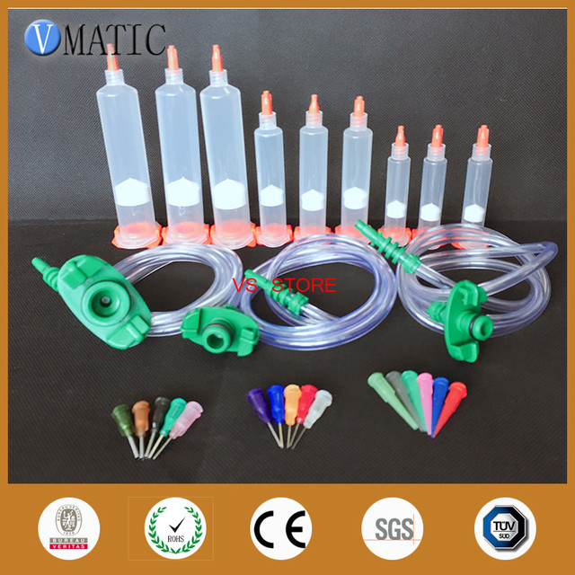 Free Shipping Disposable Pneumatic Syringe Set With Adapter Syringe Stopper/ Ends Cover/ Glue Dispensing Needles