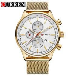 2018 curren novos relógios de quartzo de ouro masculino relógios de pulso de luxo relógios de pulso masculino relogio masculino quartzo-watch 8227