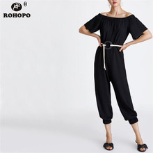 ROHOPO Women Short Sleeve Jumpsuit Off Shoulder Black Belted Harm High Waist Ladies Strapless  Autumn Outfit #CW9218