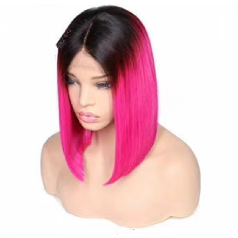 Free Shipping 9 Styles For Choose Colorful Short Straight Lace Front Human Hair Wigs Russian Bob Wigs