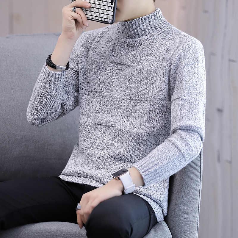 LEFT ROM 캐시미어 스웨터 남성 브랜드 의류 남성용 스웨터 퓨어 컬러 캐주얼 니트 셔츠 가을 울 풀오버 맨 하이 칼라 XXXL