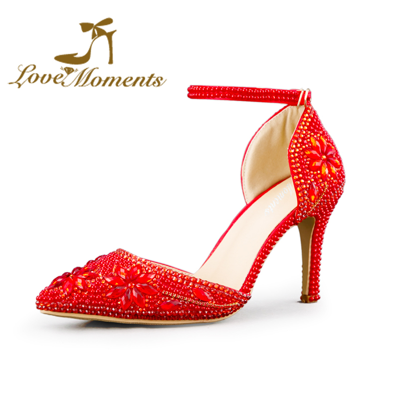Love Moments red High Heel Pumps Pearls Rhinestone Pointed Toe Crystal Wedding shoes  Party Evening Dress Stiletto Heel love moments wedding shoes bride high heels women pumps pointed toe buckle strap handmade rhinestone crystal party dress shoes