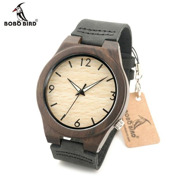 BOBO PÁJARO reloj de Pulsera Unisex de Cuero Genuino de Los Hombres reloj De Cuarzo de Madera Hecha por madera de Sándalo Negro Con Caja de Regalo