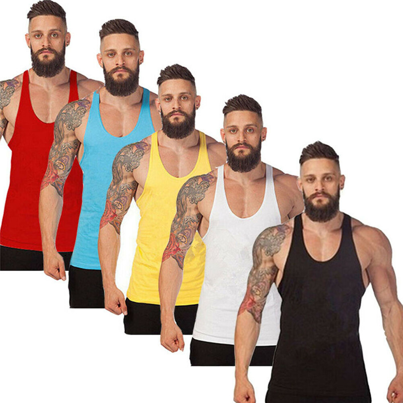 Plus Size Summer Men O neck Sleeveless Bodybuilding   Tank     Tops   Slim Fits Tee   Tops   Male   Tank     Top   Vest M-XXL