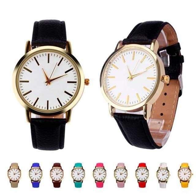 Women Men Leather Analog Quartz Watch Fashion Simple Business Wrist Watch relogi