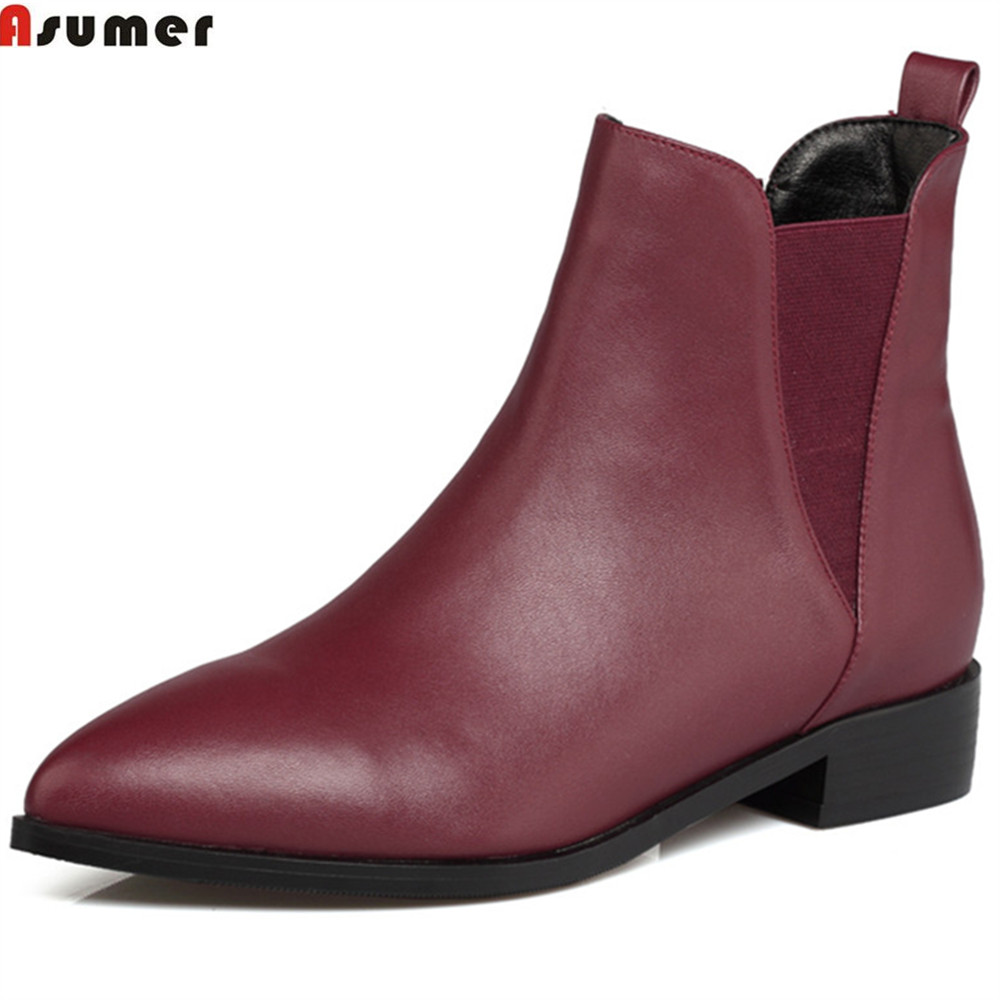 Asumer wine red black fashion women boots pointed toe square heel genuine leather boots low heel cow leather ankle boots asumer black white fashion new women boots pointed toe genuine leather boots zipper cow leather ankle boots low heel shoes