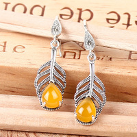 4 colors 925 Sterling Silver Natural semi precious stone Plant leaves Bohemia Earrings yellow girlfriend gift