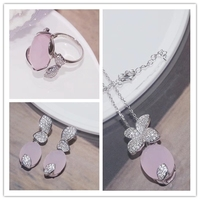925 Sterling Silver Bridal Jewelry Set Parure Bijoux Femme Pink White Green Natural Stone Opal Tulip Flowers Jewelry Wedding Set