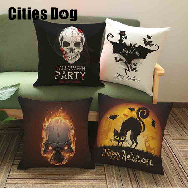 Halloween Mexican Sugar Skull CushionNo Innerdecorative Throw Custom Halloween Pillows Decorations