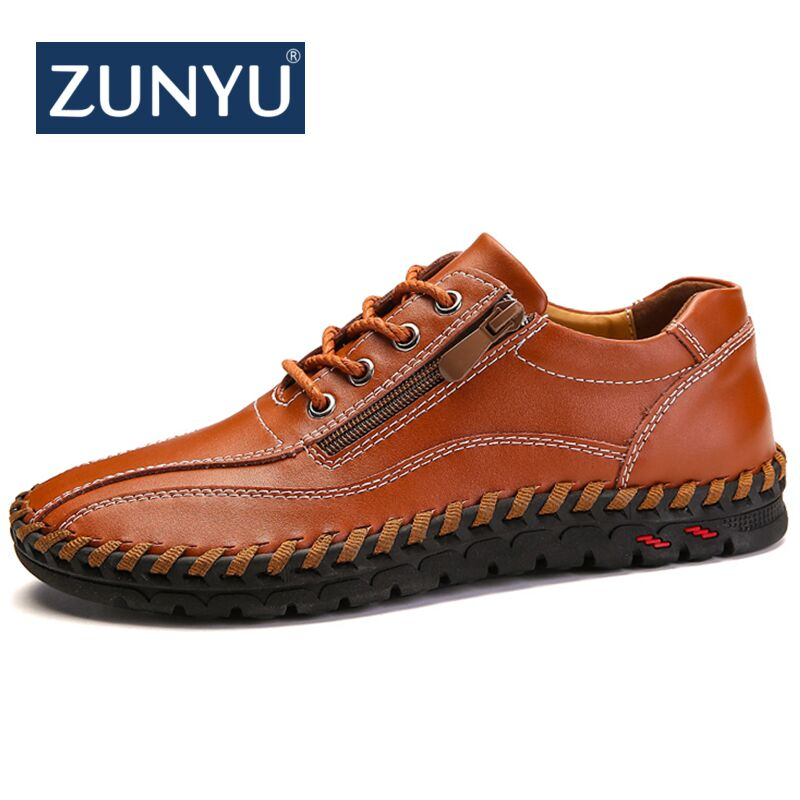 ZUNYU New Spring Summer Zip Mens Loafers Fashion Breathable Men Flats Genuine Leather Casual Shoes Designers Moccasins Men Shoes bimuduiyu new fashion mens shoes spring summer breathable quality casual shoes slip on mens loafers designers moccasins men shoe