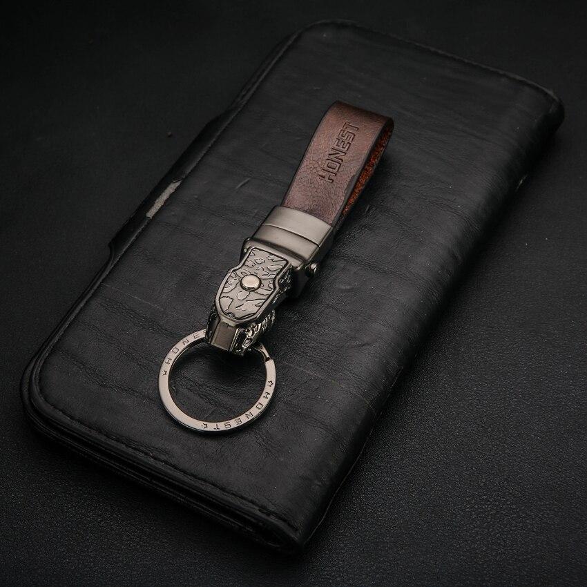Brand HONEST High Grade Alloy Men Key Chain Car Key Ring Holder Keychains Jewelry Bag Pendant Genuine Leather Gift LED Function