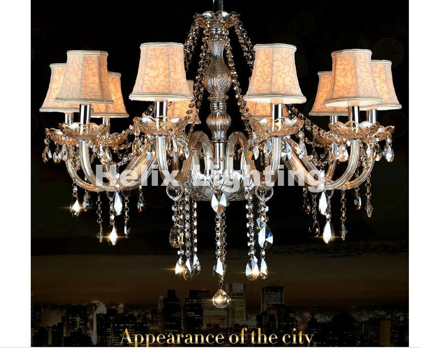 Newly Free Shipping Champagne K9 Crystal Chandelier Lustre Crystal Chandeliers Lustres De Cristal Chandelier LED With Lampshade