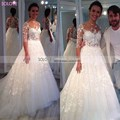 Hot sale Custom Made Wedding Dress Lace Appliques A-Line Half Sleeve Bridal Dress Vestidos de novia 2017 Bridal Gowns Lace W618