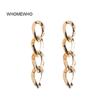 WHOMEWHO 2019 New Arrival Gold Metal Link Chain Minimalist Drop Earrings Fashion Trending Bridal Party Jewelry Ear Accessories