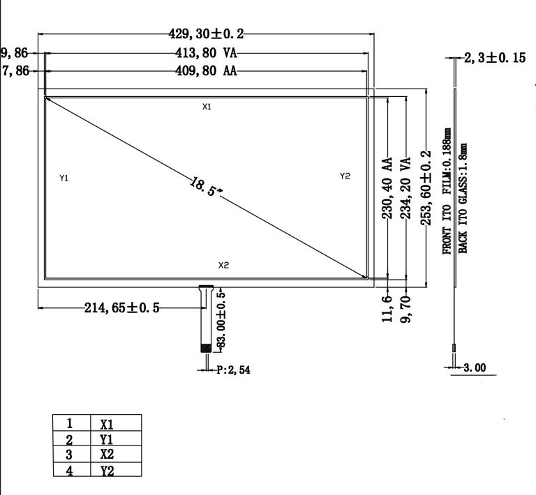 18,5 inch Resistiven Touchscreen-panel 429,3mm x 253,6mm 4 Draht USB ...