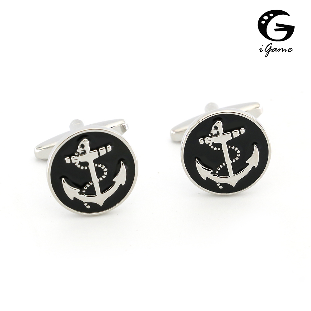 IGame Men's Fashion Cufflinks Black Enamel Anchor Design Quality Brass Wedding Cuff Links Free Shipping