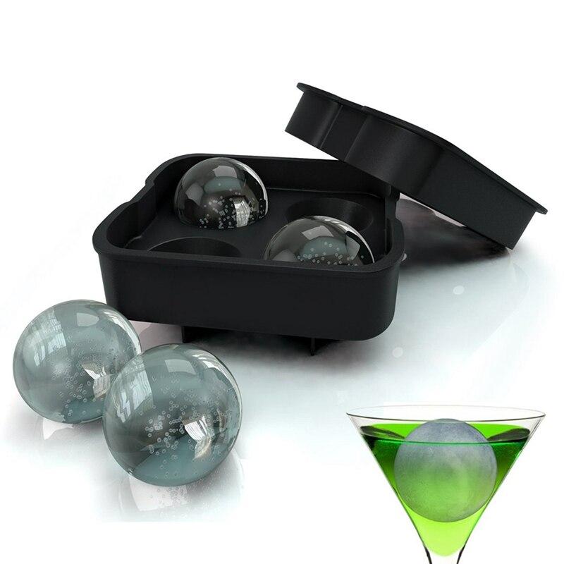 Moule boule de Cube de glace   Plateau rond en Silicone pour Cube de glace 4 trous 1 pièces, moule boule de glaçon, moule en Silicone sphère de glace, moule pour fête Bar