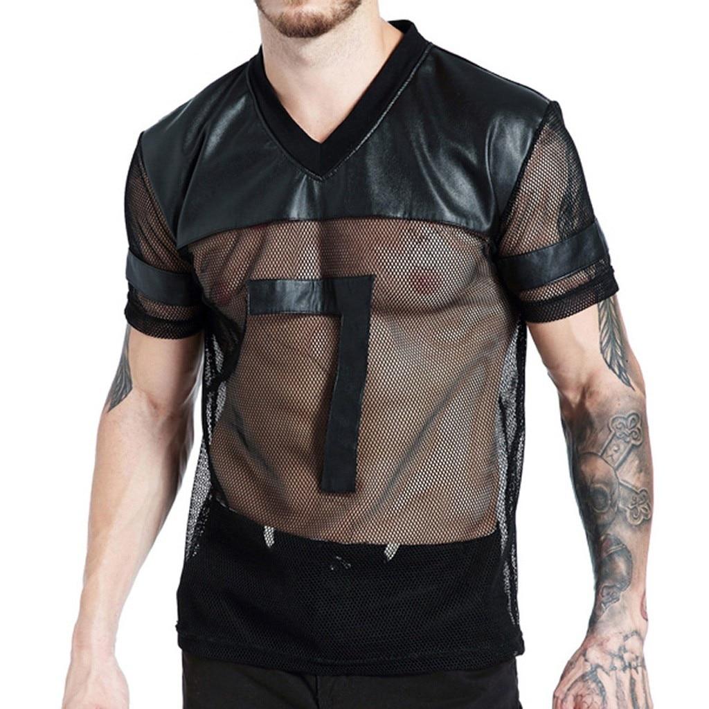 Jaycosin Mens Summer Mesh See-through Sexy V-neck Short Sleeve Sport T-shirt Top Blouse 19mar13 Modern Design T-shirts Men's Clothing