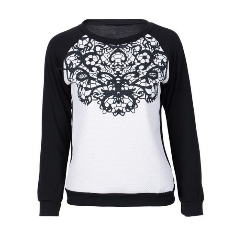 Women Autumn Winter Sweatshirts Hoodies Cloth Loose Printed Long Sleeve Lace Patchwork Tops Shirts 2017 Hot Sale