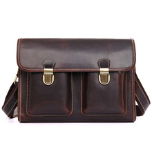 Crossbody Bags For Men Brown Business Travel  Laotop 13 inch Brand Vintage Shoulder Bag Lock Solid Pocket Messenger Bags For Man цены