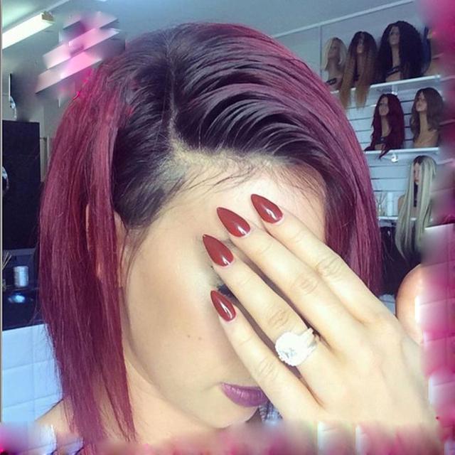 2016 Nueva Moda Ombre1b/Borgoña twoTone Ombre Peluca Llena Del Cordón Del Pelo Humano Peluca Del Frente Del Cordón Ondulado Brasileño Ombre Humano Peluca de pelo