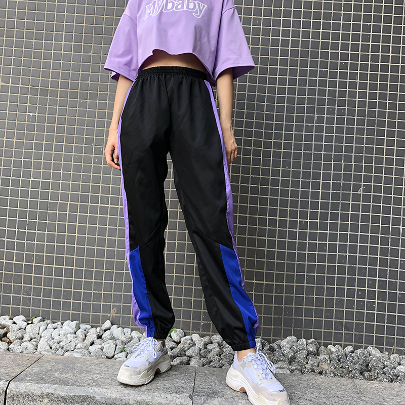 New High Waist Women Sweat   Pants   Fashion Casual Loose Patchwork Long Trousers Elastic Waist Streetwear   Pant     Capris   cuteandpsycho