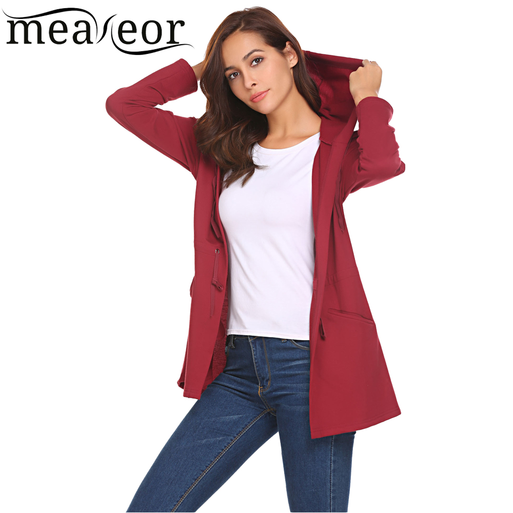 Meaneor Women Casual Hooded Full Sleeve Solid Long Cardigan Drawstring Waist Femme Cardigans 2018 New Outwear Coat with Pockets