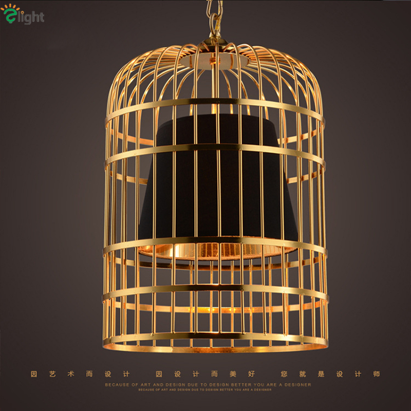 все цены на Modern Led Plate Gold Chrome Birdcage Led Pendant Light Bar Restaurant PVC Shades E27 Deco Vintage Chain Hanging Lamp онлайн